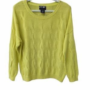 Lord & Taylor lime green cotton crew neck cable knit sweater size Medium